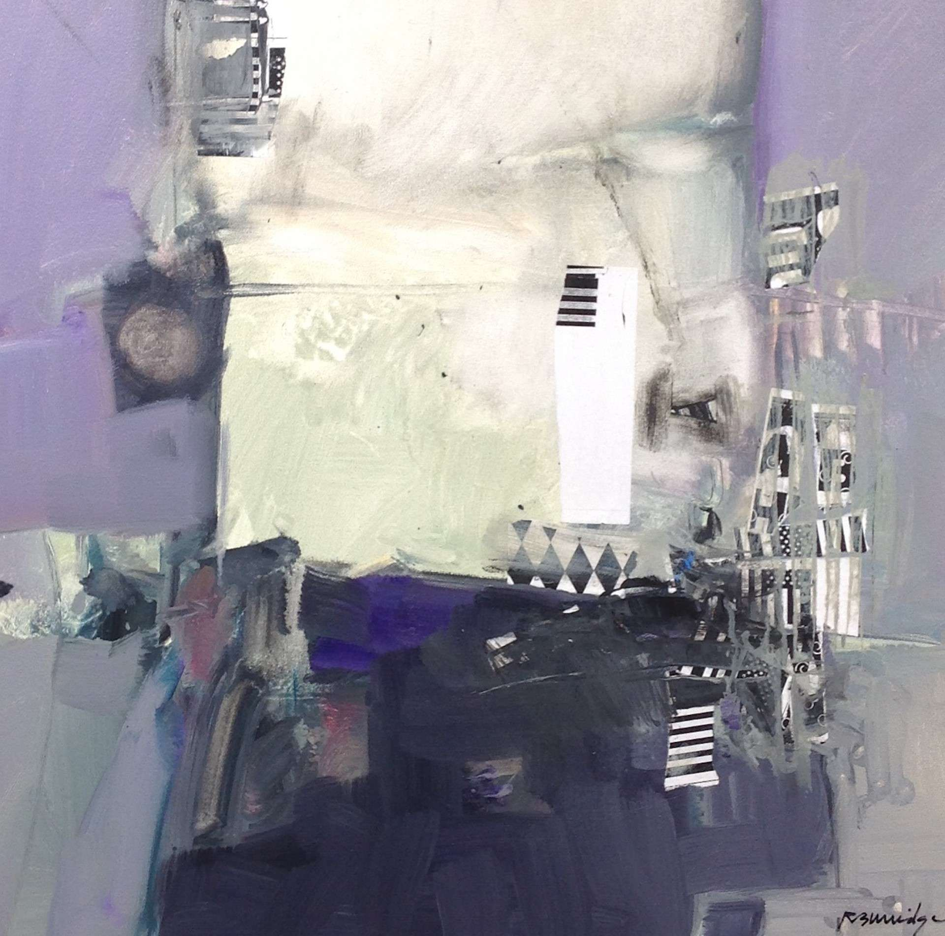 Robert Burridge Abstract Painting in shades of lavender, gray and white