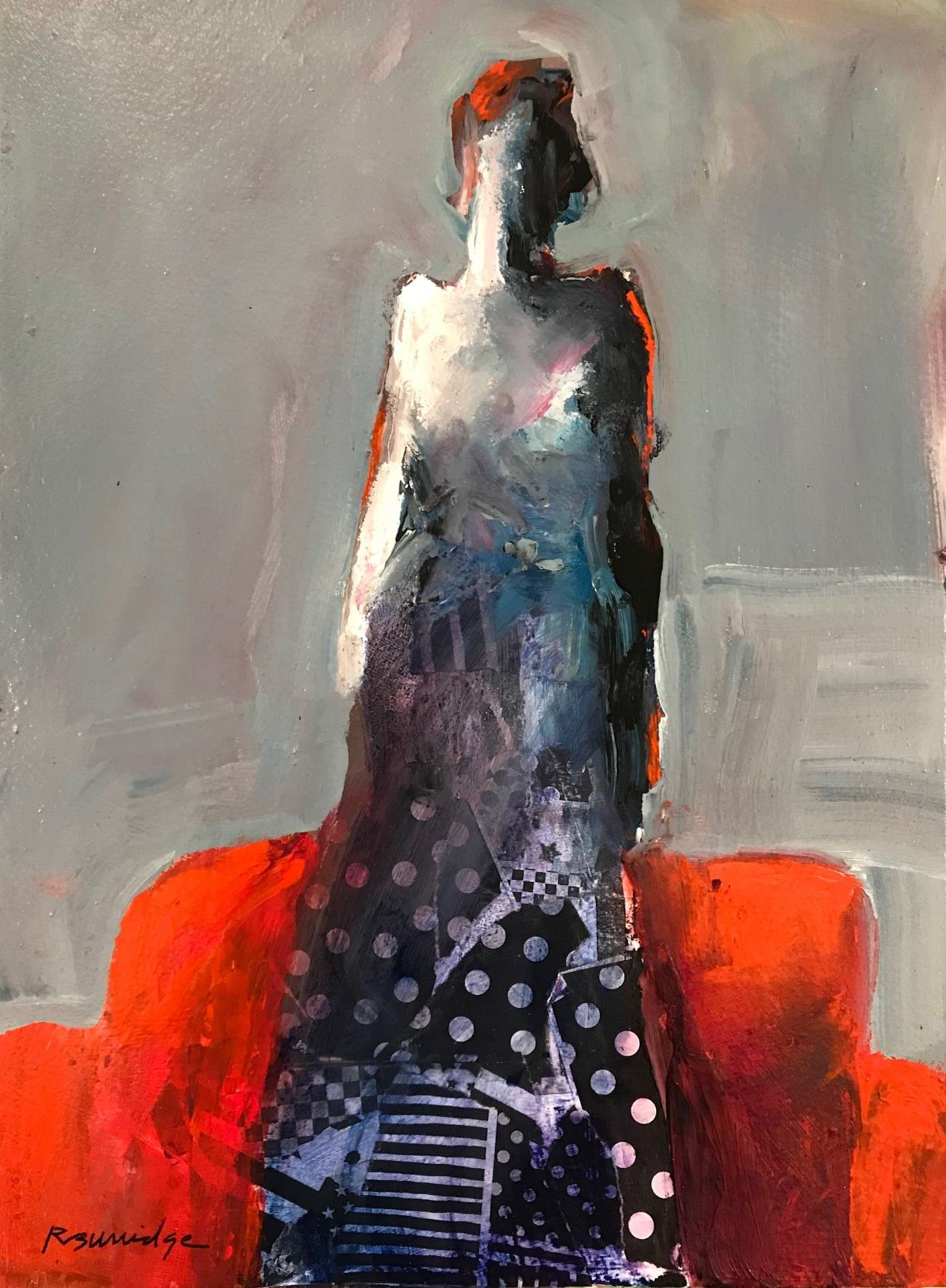 Robert Burridge - Acrylic Abstract Painting of Female Figure in red, black and white.