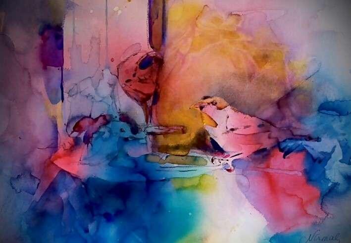 Finch in Watercolor - Nirmal Singh, Artist