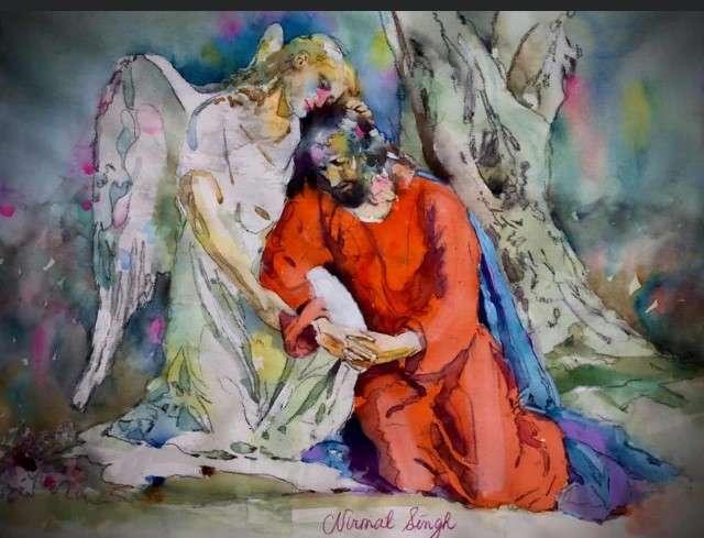 Jesus and Angel in Watercolor - Nirmal ingh MD