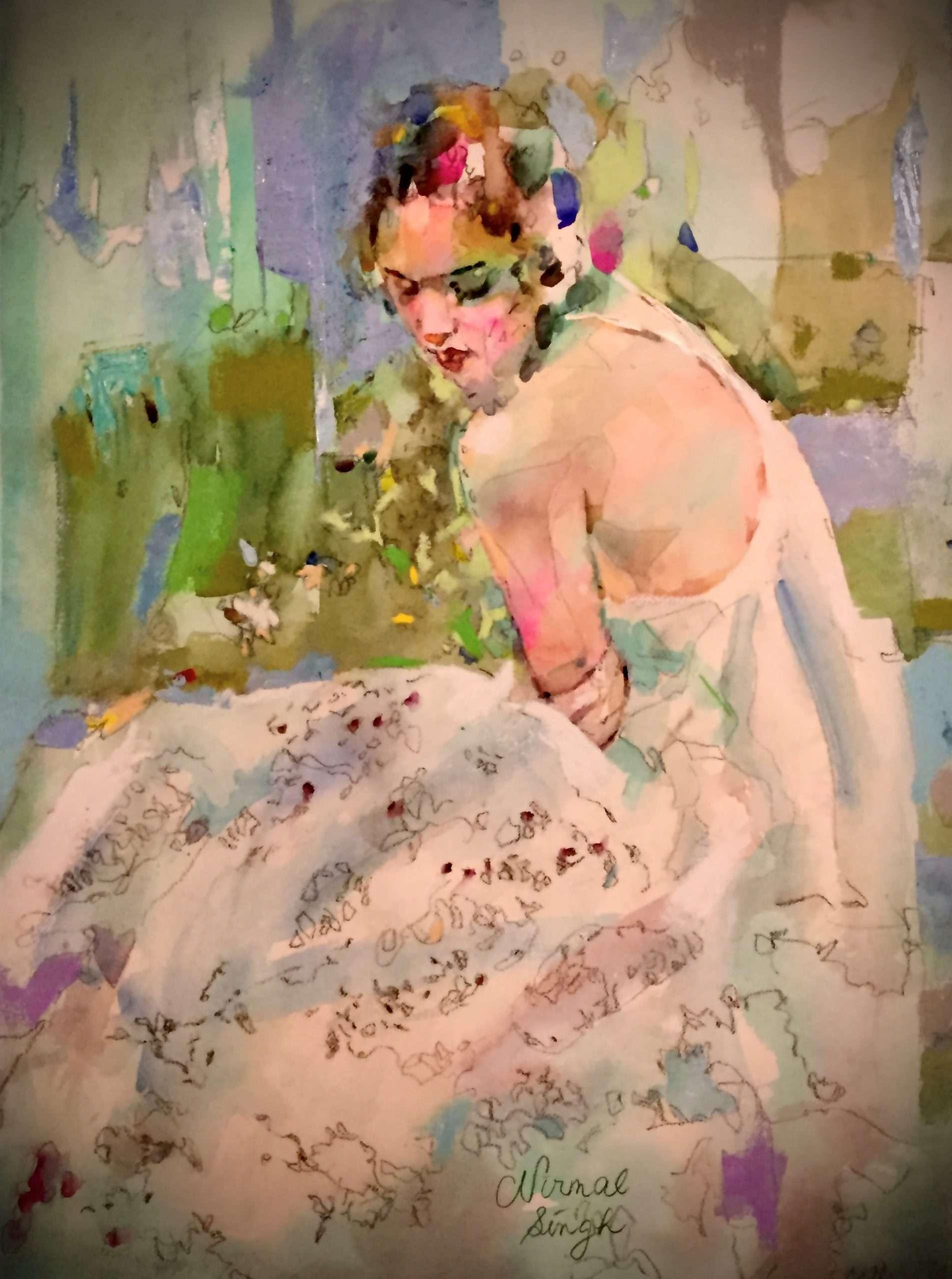 Rose in Clear Vase - Nirmal Singh, Artist
