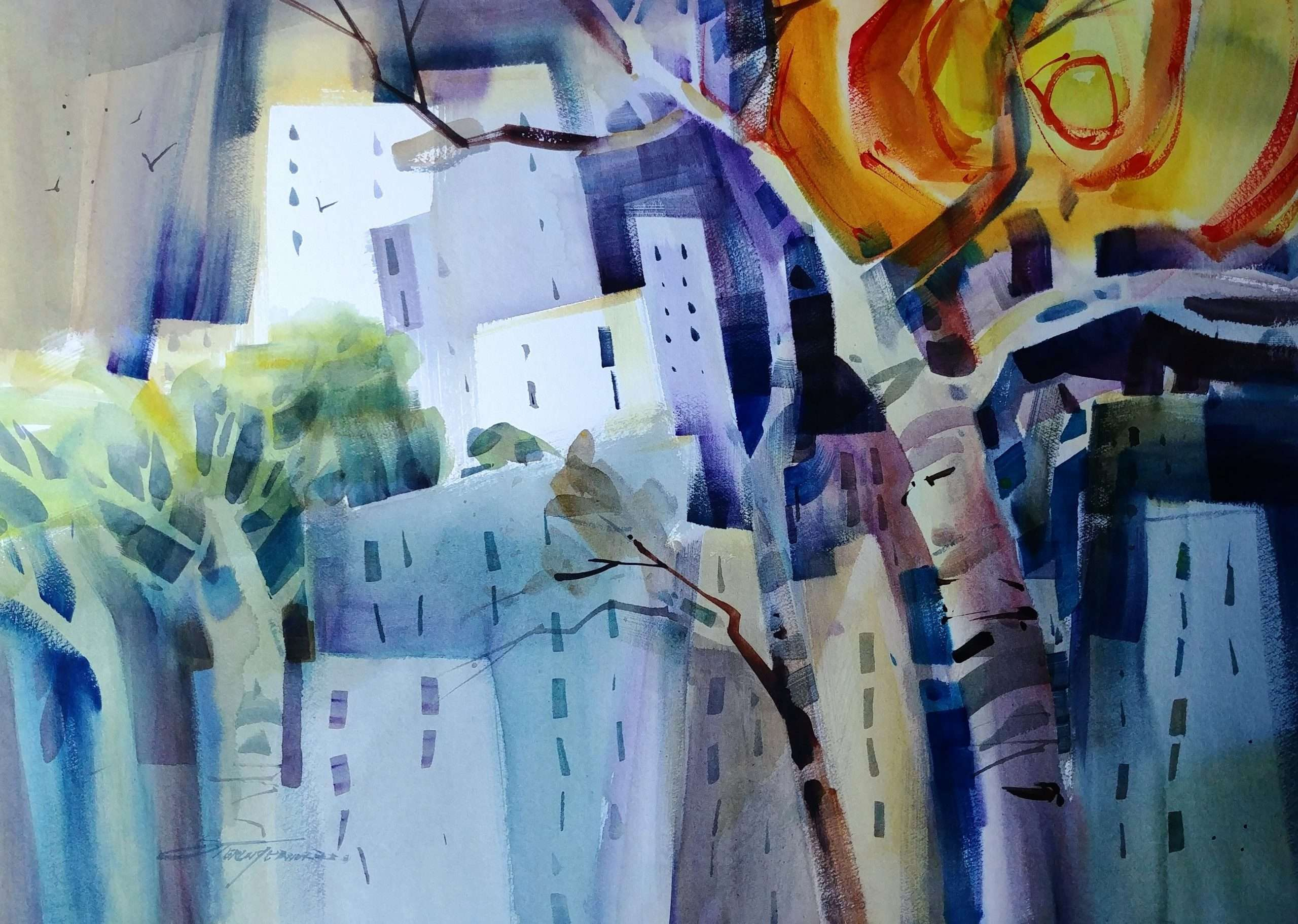 Sterling Edwards Abstract Village Painting