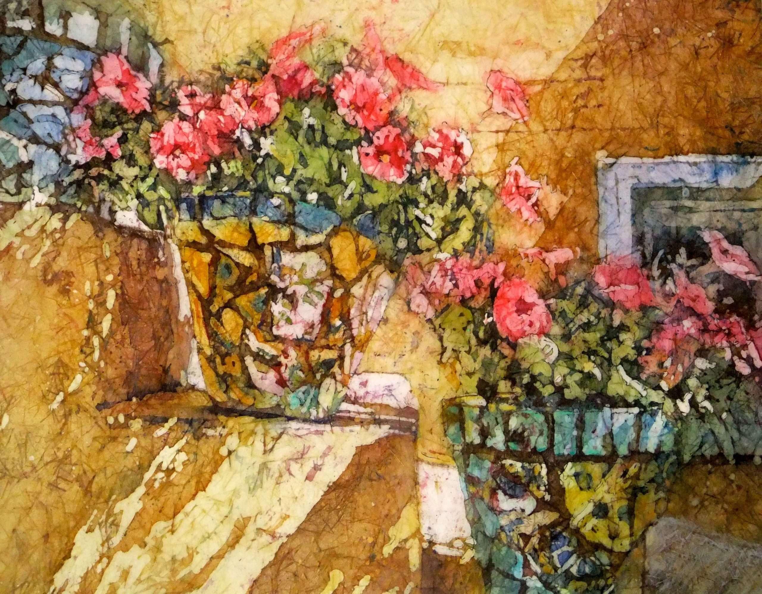 Floewered Pots on Stairs in Batik by Kathie George